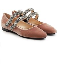 N°21 - Velvet Shoes With Embellished Straps - Lyst
