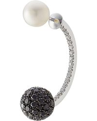 Delfina Delettrez - 18kt White Gold Earring With Pearl And Diamonds - Lyst