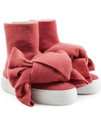 Joshua Sanders - Felted Wool Platform Boots With Bows - Lyst