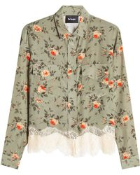 The Kooples - Printed Silk Blouse With Lace - Lyst