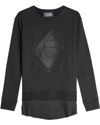 Karl Lagerfeld - Embroidered Cotton Sweatshirt With Pleated Hem - Lyst