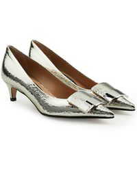 Sergio Rossi - Metallic Leather Kitten Heel Court Shoes - Lyst