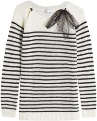 RED Valentino - Striped Pullover In Wool, Angora Wool And Cashmere - Lyst