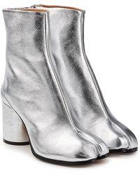 Maison Margiela - Metallic Leather Split Toe Ankle Boots - Lyst