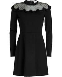 RED Valentino - Jersey Dress With Point D'esprit - Lyst