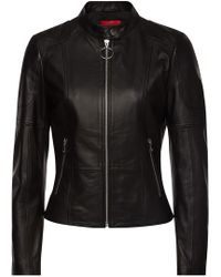 HUGO - Ladani Leather Jacket - Lyst