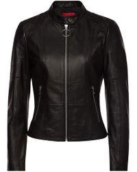 HUGO - Ladani Leather Jacket - Lyst