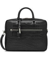 Saint Laurent - Embossed Leather Briefcase - Lyst