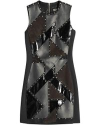 Versace - Embellished Leather Dress With Suede - Lyst