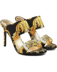 Versace - Printed Fabric Sandals - Lyst