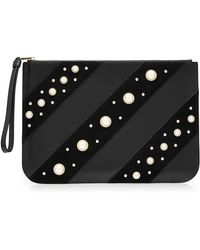 Karl Lagerfeld | Embellished Leather Zipped Clutch | Lyst