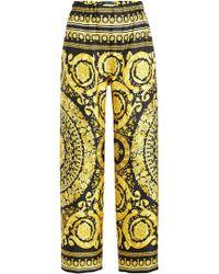 Versace - Printed Silk Trousers - Lyst