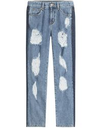 SJYP - Distressed Sid Straight Leg Jeans With Cropped Ankle - Lyst