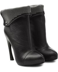 Alexander McQueen - Leather Ankle Boots With Studded Cuff - Lyst