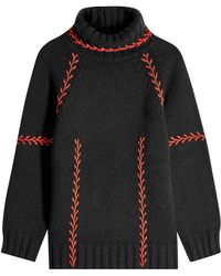 Alexander McQueen - Feather Stitch Embroidered Oversized Cashmere Pullover - Lyst