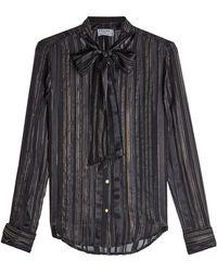FRAME - Silk Chiffon Blouse With Metallic Thread - Lyst