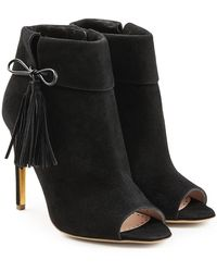Rupert Sanderson - Tinsel Suede Open Toe Ankle Boots - Lyst