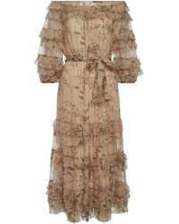 Zimmermann - Unbridled Printed Silk Chiffon Ruffle Dress - Lyst