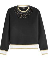 Fendi - Embellished Cotton Blend Sweatshirt - Lyst