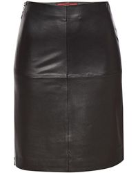 HUGO - Libetta Leather Skirt - Lyst