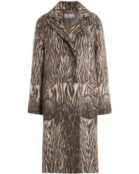 Alberta Ferretti - Printed Coat With Virgin Wool And Alpaca Wool - Lyst