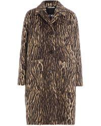 Rochas - Animal Print Coat With Virgin Wool And Alpaca - Lyst