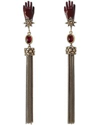Roberto Cavalli - Earrings With Tassels And Stones - Lyst