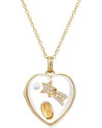 Loquet London - 14kt Heart Locket With Citrine, Pearl And Diamonds - Lyst