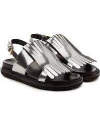 Marni - Fussbett Metallic Leather Sandals - Lyst