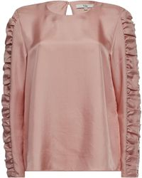 Tibi - Satin Top With Gathered Sleeves - Lyst