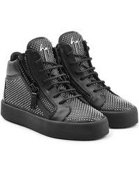 Giuseppe Zanotti - Stud Embellished Leather Trainers - Lyst