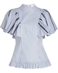 Caroline Constas - Striped Cotton Blouse With Ladder Trims - Lyst