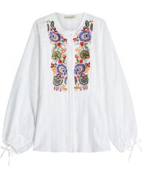 Etro - Embroidered And Embellished Cotton Blouse - Lyst