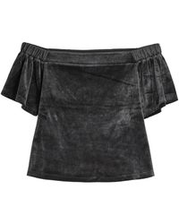 Juicy Couture - Velour Top With Bardot Neckline - Lyst