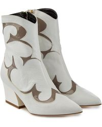 Tibi - Felix Leather Ankle Boots With Patent Trims - Lyst