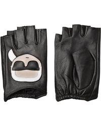 Karl Lagerfeld - Fingerless Leather Gloves - Lyst