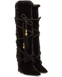 Versace - Embellished Velvet Knee Boots - Lyst