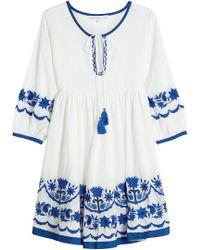 Christophe Sauvat | Embroidered Cotton Mini Dress | Lyst