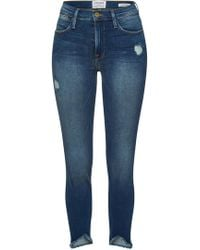 FRAME - Le High Skinny Triangle Raw Hem Cropped Jeans - Lyst