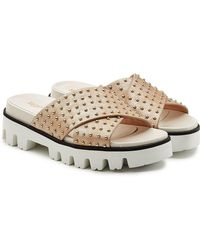 RED Valentino - Embellished Leather Sandals - Lyst