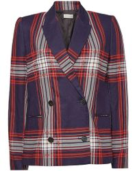 By Malene Birger - Rivali Double-breasted Checked Linen And Cotton-blend Blazer - Lyst