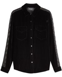 The Kooples - Velvet Shirt With Metallic Lace - Lyst