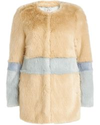 Shrimps - Fake Fur Color Block Coat - Lyst