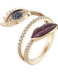 Delfina Delettrez - 18kt White Gold Ring With Diamonds, Rubies And Sapphires - Lyst