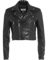 Just Cavalli - Cropped Leather Jacket With Stud Embellishment - Lyst