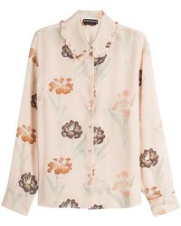 Rochas | Printed Silk Blouse With Ruffled Collar | Lyst