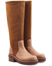 See By Chloé - Suede Knee Boots With Leather - Lyst