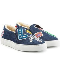 Joshua Sanders - Denim Slip On Sneakers With Patches - Lyst