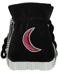 Les Petits Joueurs - Trilly Disco Moon Embellished Velvet Pouch - Lyst
