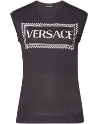 Versace - Logo Embroidered Tank Top - Lyst